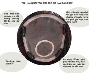 Tóc Giả Che Mái Hói Đỉnh Đầu Cho Nam Thật 100% - Dạng Kep