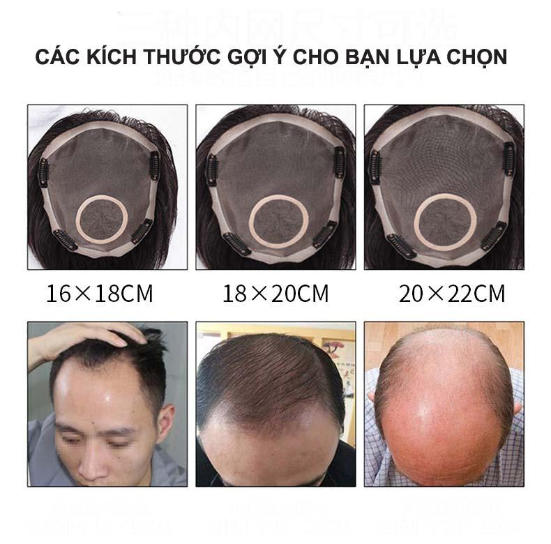 Kích thước tóc giả nam cho bạn lựa chọn