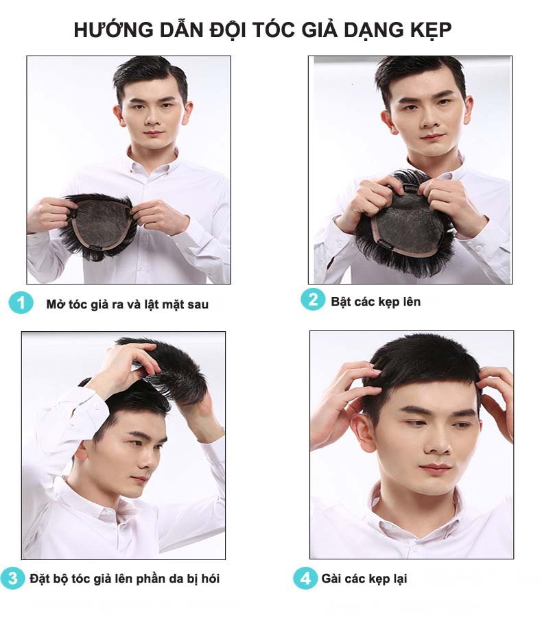 Hướng dẫn đội tóc giả hói đỉnh đầu