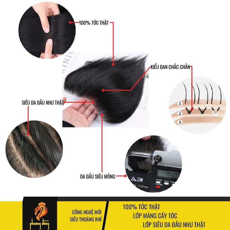 Tóc giả nam mái m siêu da đầu