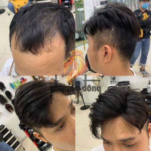 Tóc giả nam dạng kẹp làm từ 100% tóc thật