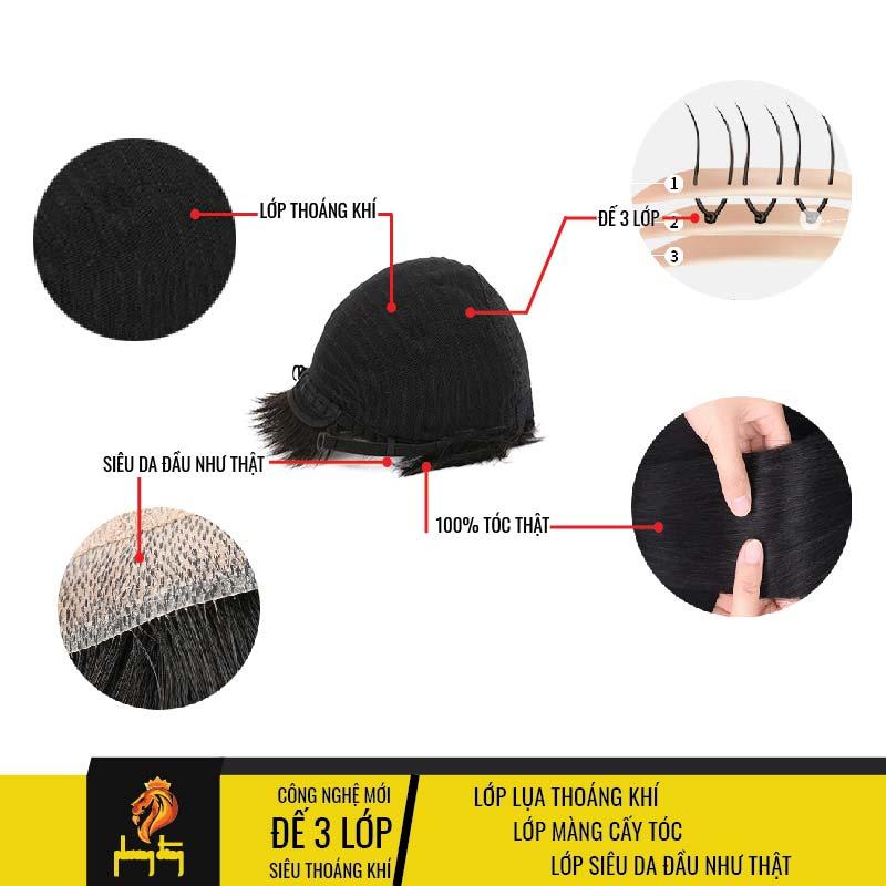 Tóc giả nam nguyên đầu có siêu da đầu