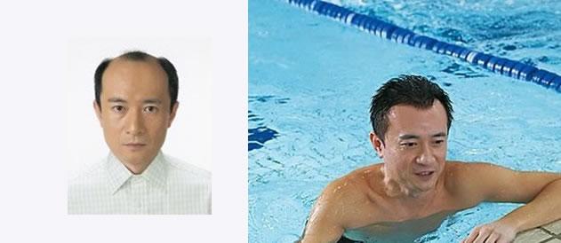 Đội tóc giả nam bơi lội